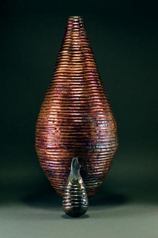 Copper Coil Vessel, Raku fired ceramic