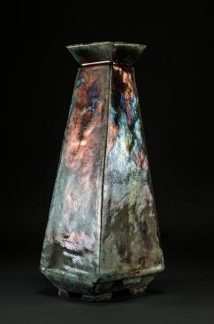 Hand-made raku fired ceramic vase